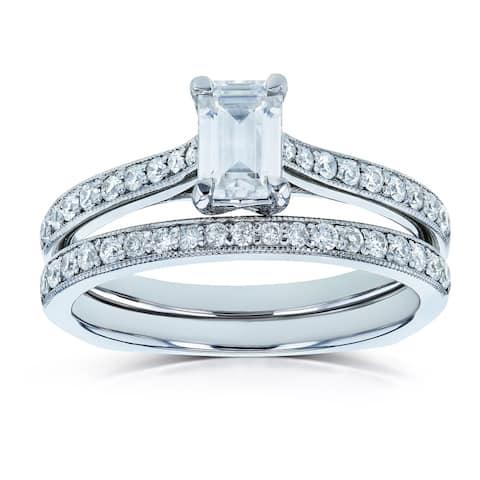 Annello by Kobelli 14k Gold 1ct TGW Emerald Forever One Moissanite and Diamond Square Shank Vintage Trellis Bridal Rings Set