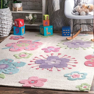 nuLOOM Off-White Contemporary Hand Tufted Floral Wool Area Rug