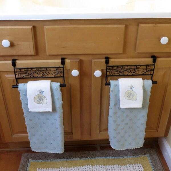 Evelots Over Cabinet Door Towel Bar-Bathroom-Kitchen-No Installation-Set/