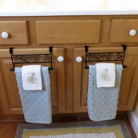 Evelots Over Cabinet Door Towel Bar-Bathroom-Kitchen-No Installation-Set/2