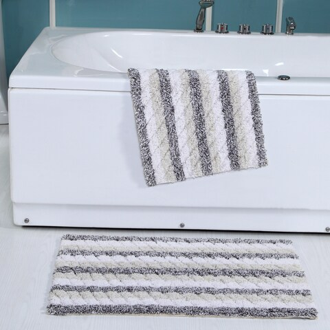 Ring Spun Cotton Textured Bath Rugs (2 Piece)