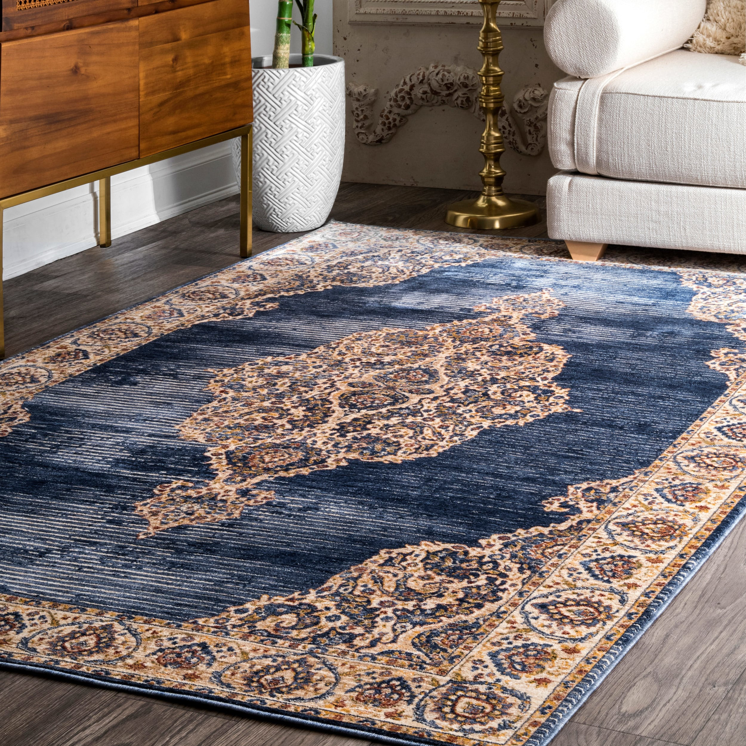 Nuloom Traditional Oriental Fl Medallion Navy Tan Off White Rug 7
