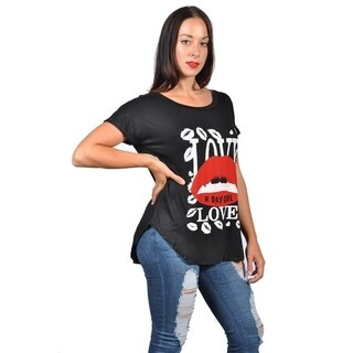 Womens Fashion Love Day Girl Red Lip Plus Size Graphic Tees Top