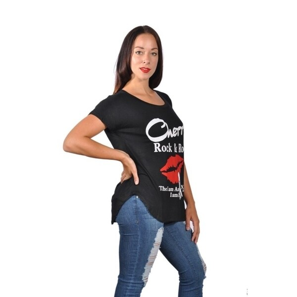 7271784a Womens Fashion Cherrys Rock N Roll Red Lip Plus Size Graphic Tees Top