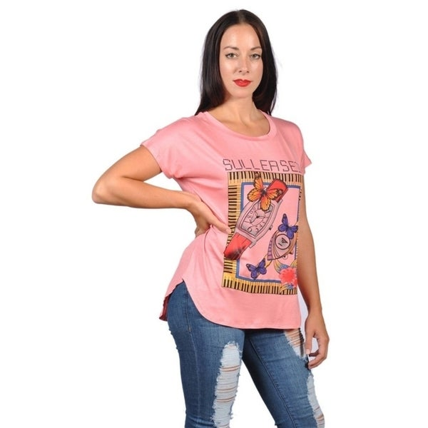 c4f0a5a889 Womens Fashion Watch with Sullerseid Print Plus Size Graphic Tees Top.  Click to Zoom