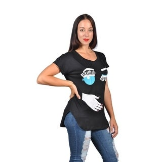 Womens Fashion Hand with Twink Eye Plus Size Graphic Tees Top