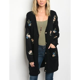 JED Women's Loose Fit Floral Embroidered Knit Sweater Cardigan