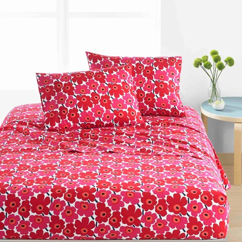 Marimekko Unikko Cotton Percale Sheet Set