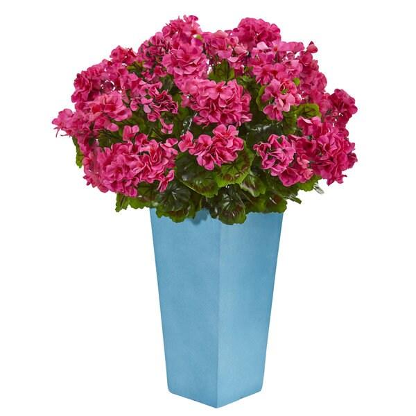 Geranium Artificial Plant in Turquoise Planter UV Resistant (Indoor/Outdoor)