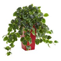 Pothos Artificial Plant in Red Planter UV Resistant (Indoor/Outdoor)