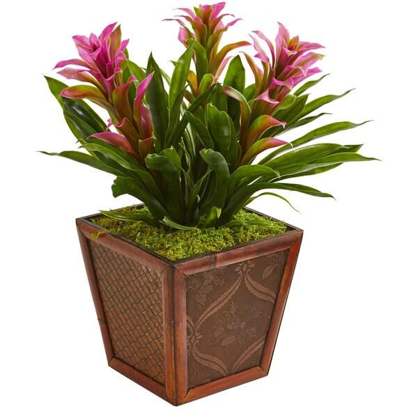 Triple Bromeliad Artificial Plant in Decorative Planter