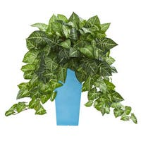 """25"""" Nephtytis Artificial Plant in Turquoise Planter"""