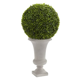 """28"""" Boxwood Ball Topiary Artificial Plant in Urn (Indoor/Outdoor)"""