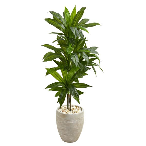 4 Dracaena Artificial Plant In Sand Colored Planter Real Touch On Sale Overstock 19532623