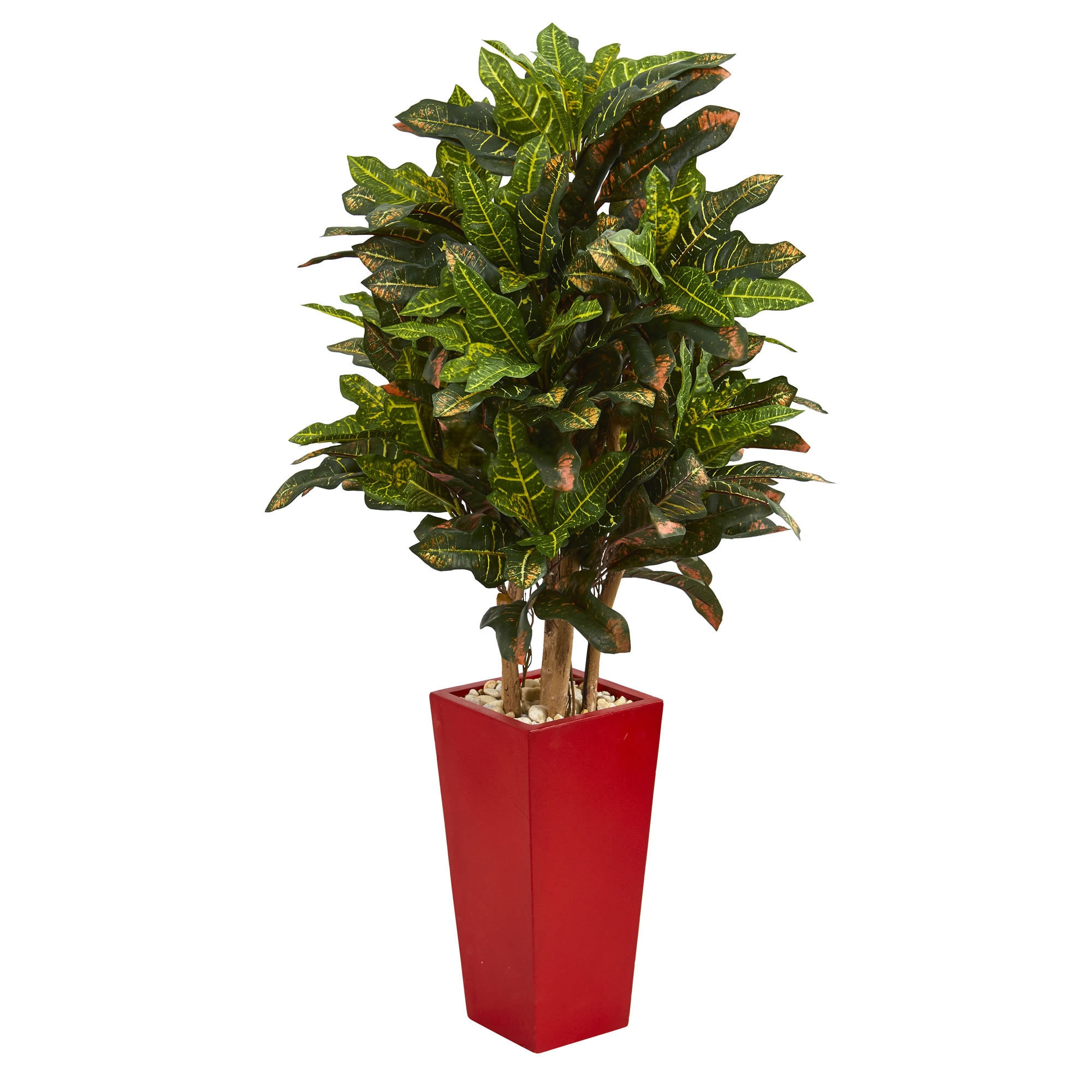 Nearly Natural 4' Croton Artificial Plant in Red Planter ...