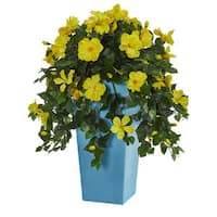 """31"""" Hibiscus Artificial Plant in Turquoise Tower Vase"""