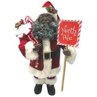 "15"" African American North Pole Santa Figurine"