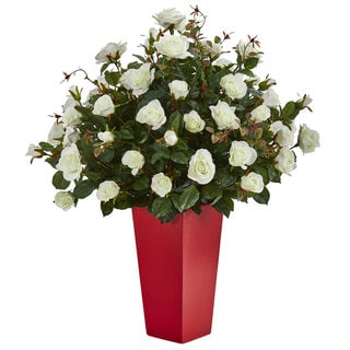 Rose Bush Artificial Plant in Red Planter