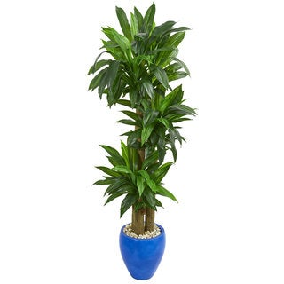 Nearly Natural Real Touch 6-foot Cornstalk Dracaena Artificial Plant in Blue Planter