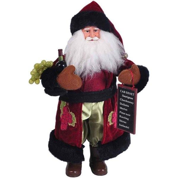 "Home Depot Real Christmas Tree Prices: Shop 15"" Wine Santa Figurine"