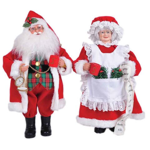 """15"""" Mr And Mrs Claus Figurine, Set Of 2"""