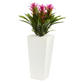 Link to Triple Bromeliad Artificial Plant in White Tower Planter Similar Items in Decorative Accessories