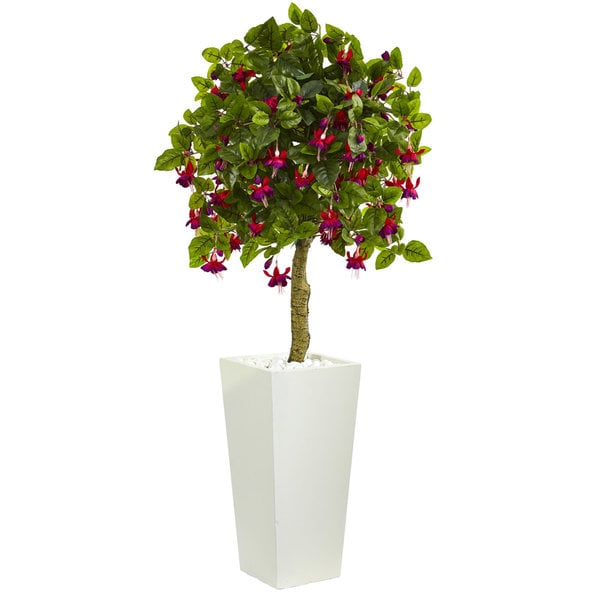 Shop 4 Fuschia Artificial Tree In White Tower Planter On Sale