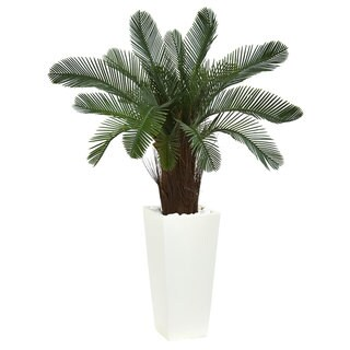 """40"""" Cycas Artificial Tree in White Tower Planter UV Resistant (Indoor/Outdoor)"""