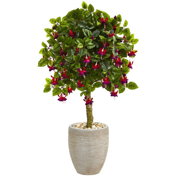 3' Fuschia Artificial Tree in Sand Colored Oval Planter