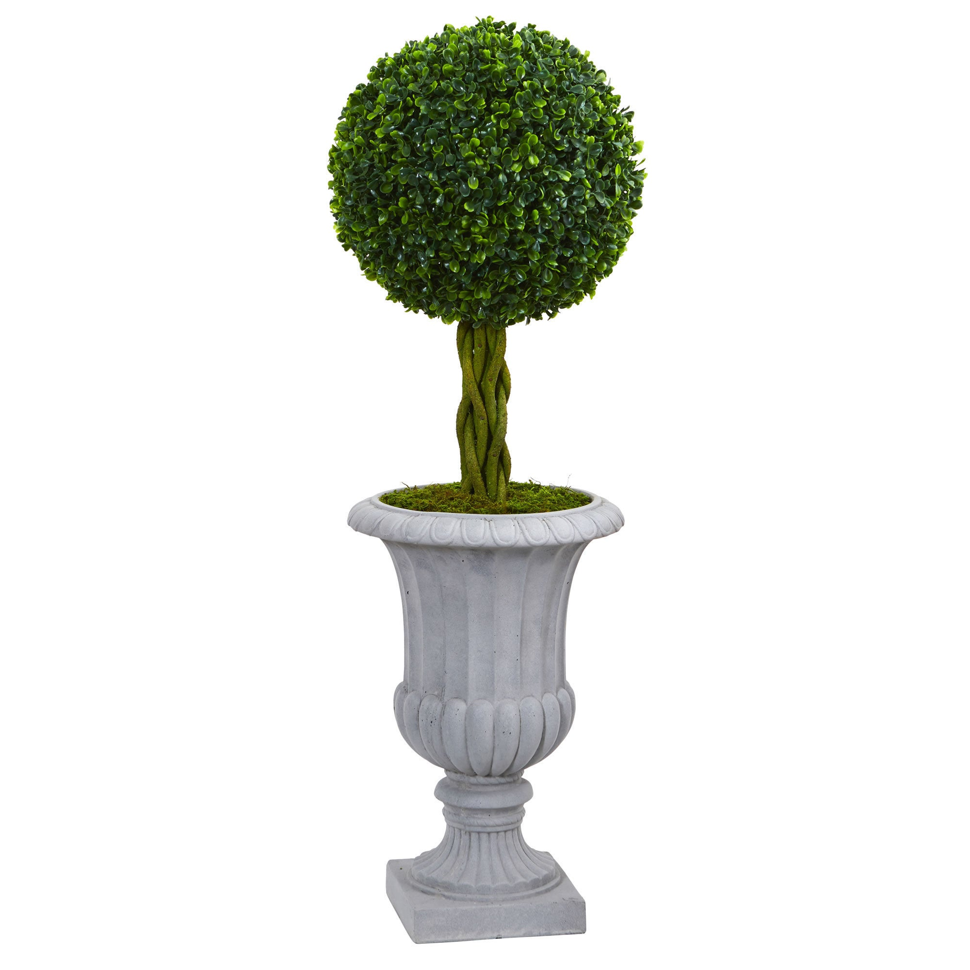 Nearly Natural 3' Braided Boxwood Topiary Artificial Tree...