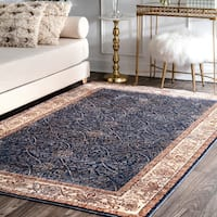 nuLoom Navy Oriental Distressed Border Rug - 5' x 8'