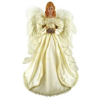 "16"" Holiday Seasonal Decor Majestic Cream Angel Christmas Tree Topper"