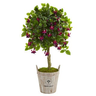 "45"" Fuschia Artificial Tree in Barrel Planter"