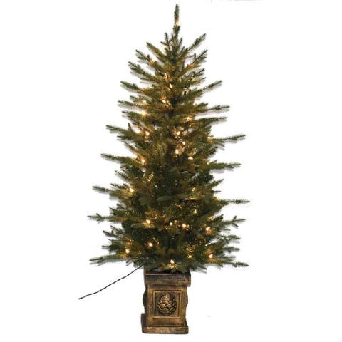 4.5' Holiday Decor Balsam Green Fir PE Artificial Potted Christmas Tree