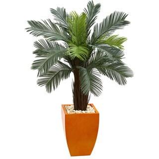 4.5' Cycas Artificial Tree in Orange Planter UV Resistant (Indoor/Outdoor)