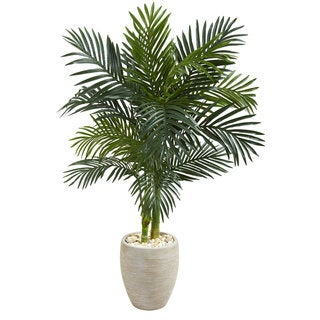Link to 4.5' Golden Cane Palm Artificial Tree in Oval Planter Similar Items in Decorative Accessories