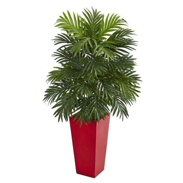 shop areca palm artificial plant in red planter on sale free