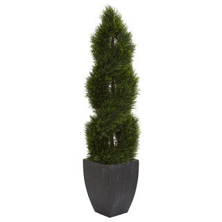 Link to 5' Double Pond Cypress Spiral Topiary Artificial Tree in Black Wash Planter UV Resistant (Indoor/Outdoor) Similar Items in Decorative Accessories