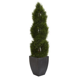 5' Double Pond Cypress Spiral Topiary Artificial Tree in Black Wash Planter UV Resistant (Indoor/Outdoor)