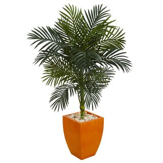 4.5' Golden Cane Palm Artificial Tree in Orange Planter