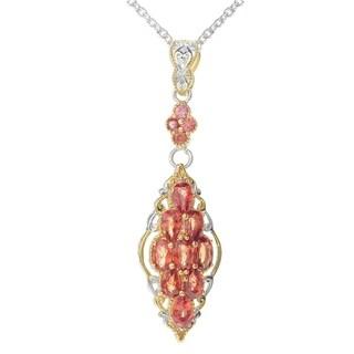 Michael Valitutti Palladium Silver Exotic Blood Orange Sapphire Cluster Pendant