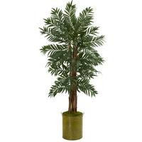 5' Parlor Palm Artificial Tree in Green Tin Planter