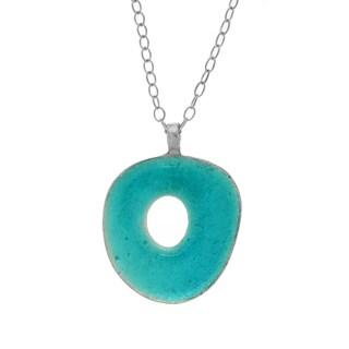 Organic Silver Tone Open Circle Necklace - White