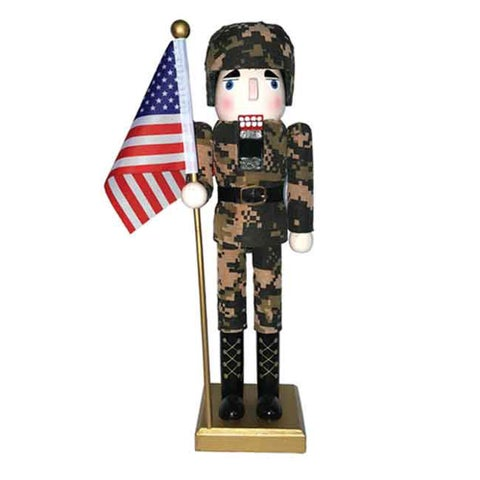 "14"" Army Nutcracker With Flag"