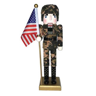 "14"" Army Nutcracker With Flag"