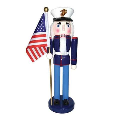 """14"""" Marine Nutcracker with Flag"""