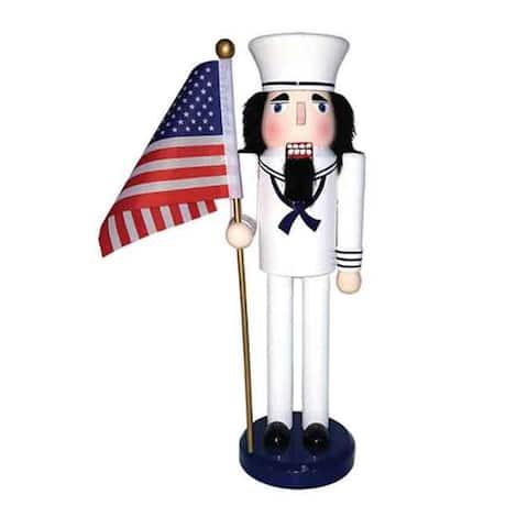 "14"" Navy Nutcracker with Flag"