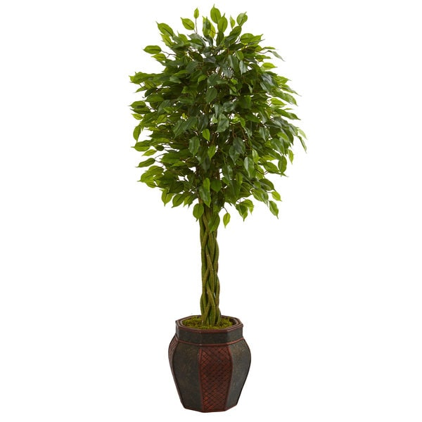 4.5' Braided Ficus Artificial Tree in Decorative Planter