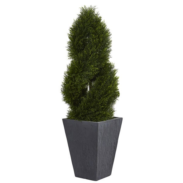 uv-resistant indoor/ outdoor 4-foot cypress double spiral artificial