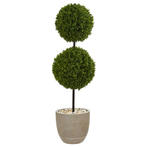 4' Boxwood Double Ball Topiary Artificial Tree in Oval Planter UV Resistant (Indoor/Outdoor)